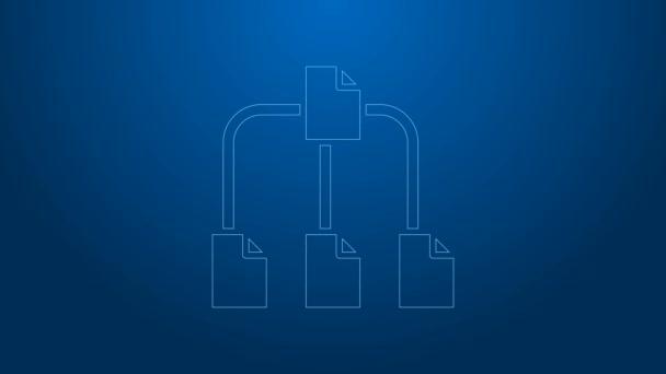 Bílá čára Ikona stromu složky izolované na modrém pozadí. Organizační schéma struktury síťových souborů počítače. Grafická animace pohybu videa 4K