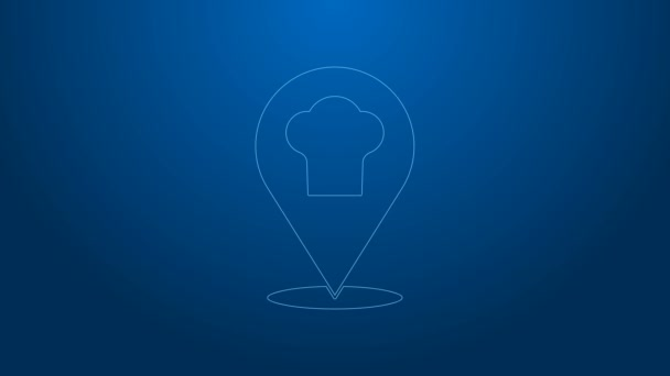 White line Chef hat with location icon isolated on blue background. Cooking symbol. Cooks hat. 4K Video motion graphic animation