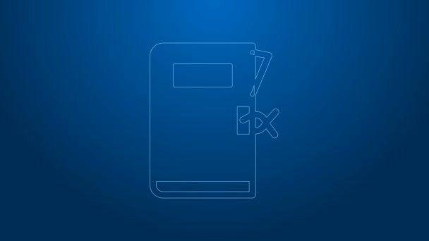 White line Police station folder icon isolated on blue background. 4K Video motion graphic animation