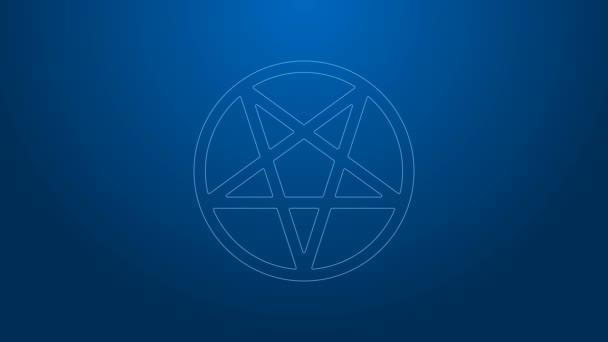 Fehér vonal Pentagram egy kör ikon elszigetelt kék alapon. Varázslatos okkult csillag szimbólum. 4K Videó mozgás grafikus animáció