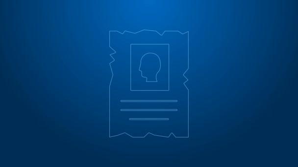 Weiße Linie Gesuchtes westliches Plakatsymbol isoliert auf blauem Hintergrund. Belohnungsgeld. Tote oder lebende Verbrecher sind geächtet. 4K Video Motion Grafik Animation