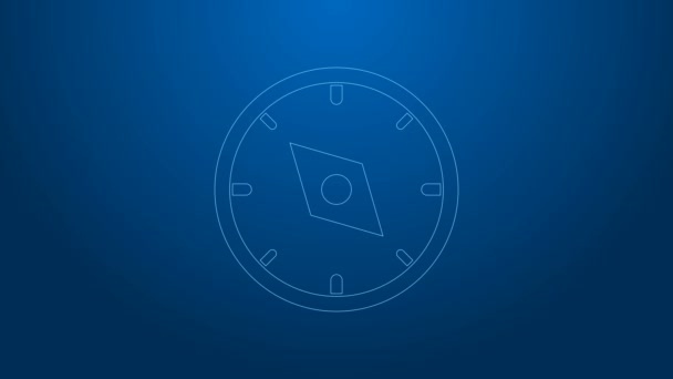 White line Compass icon isolated on blue background. Windrose navigation symbol. Wind rose sign. 4K Video motion graphic animation
