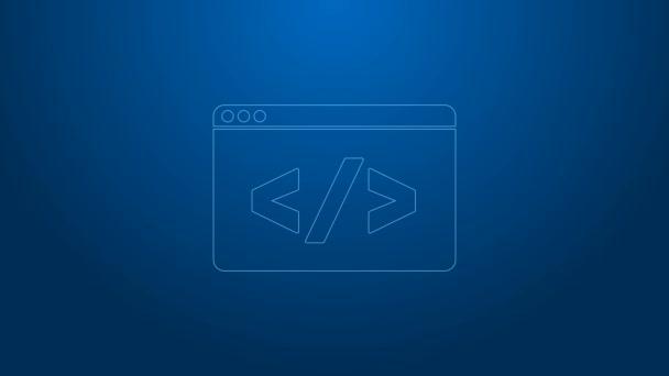 Bílá čára Web design a přední část vývoje ikony izolované na modrém pozadí. Grafická animace pohybu videa 4K