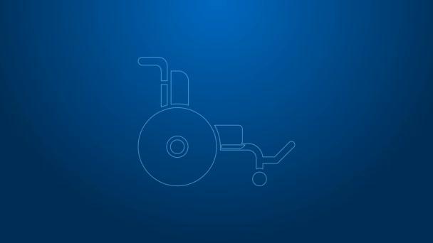 Weiße Linie Rollstuhl für Behinderte Symbol isoliert auf blauem Hintergrund. 4K Video Motion Grafik Animation