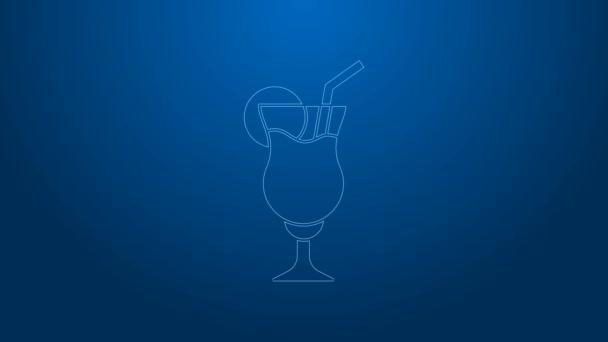 Weiße Linie Cocktail und Alkoholgetränk Symbol isoliert auf blauem Hintergrund. 4K Video Motion Grafik Animation