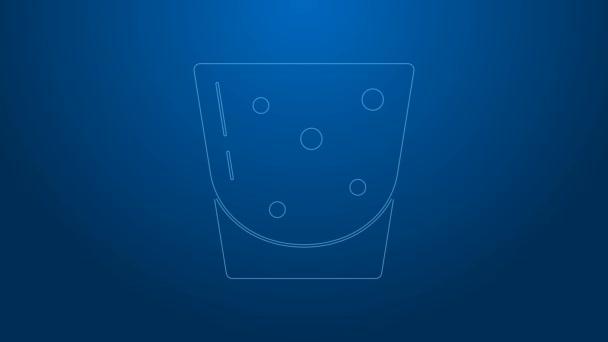 Fehér vonal Üveg rum ikon elszigetelt kék alapon. 4K Videó mozgás grafikus animáció
