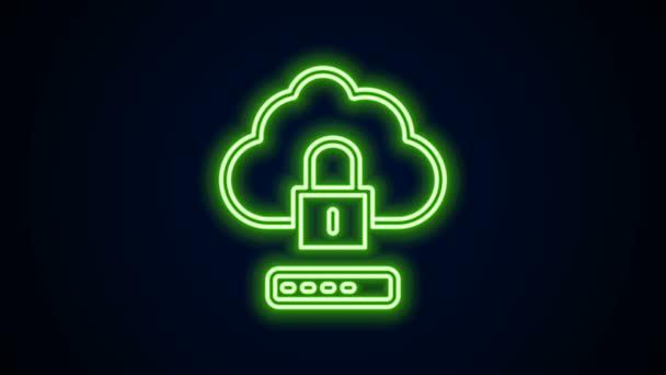 Ragyogó neon vonal Cloud számítástechnikai zár ikon elszigetelt fekete háttér. Biztonság, biztonság, védelem. A személyes adatok védelme. 4K Videó mozgás grafikus animáció