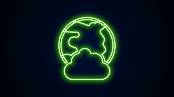 Leuchtende Leuchtschrift Globale Technologie oder soziales Netzwerk-Symbol isoliert auf schwarzem Hintergrund. 4K Video Motion Grafik Animation