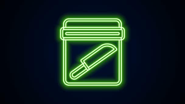 Leuchtende Neon Line Evidence Tasche mit Messer-Symbol isoliert auf schwarzem Hintergrund. 4K Video Motion Grafik Animation
