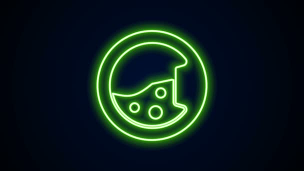 Ragyogó neon vonal Mosógép ikon elszigetelt fekete háttérrel. Mosógép ikon. Ruhaszárító - mosógép. Háztartási készülék szimbólum. 4K Videó mozgás grafikus animáció