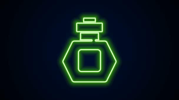 Leuchtende Neon-Linie Parfüm-Symbol isoliert auf schwarzem Hintergrund. 4K Video Motion Grafik Animation