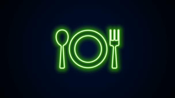 Zářící neonová čára Deska, vidlice a ikona nože izolované na černém pozadí. Symbol příboru. Značka restaurace. Grafická animace pohybu videa 4K