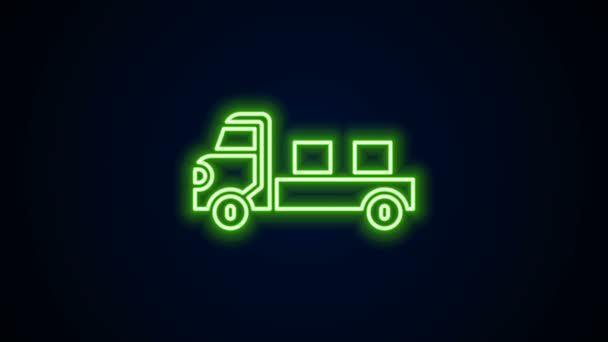 Zářící neonovou linku Nákladní auto ikona izolované na černém pozadí. Grafická animace pohybu videa 4K