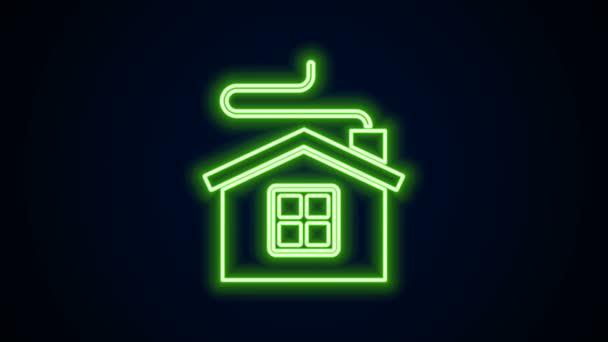 Žhnoucí neonové linie Veselé Vánoce dům ikona izolované na černém pozadí. Domácí symbol. Grafická animace pohybu videa 4K