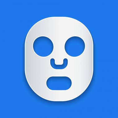 Paper cut Facial cosmetic mask icon isolated on blue background. Cosmetology, medicine and health care. Paper art style. Vector. icon
