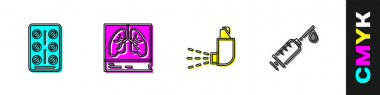 Set Pills in blister pack, Lungs x-ray, Inhaler and Syringe icon. Vector. icon