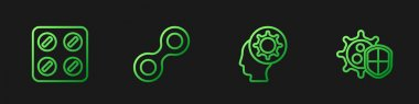 Set line Human and virus, Pills in blister pack, Virus and Shield protecting from. Gradient color icons. Vector. icon