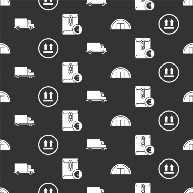 Set Warehouse, This side up, Delivery cargo truck vehicle and Envelope with euro symbol on seamless pattern. Vector. icon