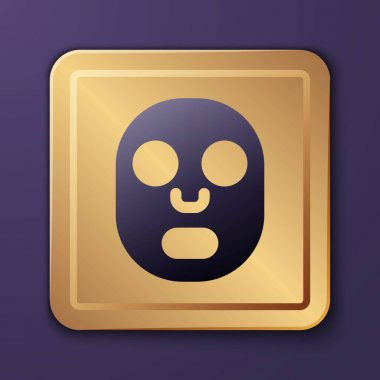Purple Facial cosmetic mask icon isolated on purple background. Cosmetology, medicine and health care. Gold square button. Vector. icon