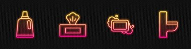 Set line Bar of soap, Bottle for cleaning agent, Wet wipe pack and Toilet bowl. Glowing neon icon. Vector. icon