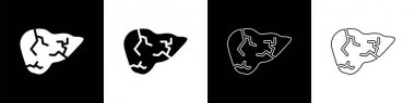 Set Hepatitis virus on the human liver icon isolated on black and white background. World Hepatitis Day.  Vector.