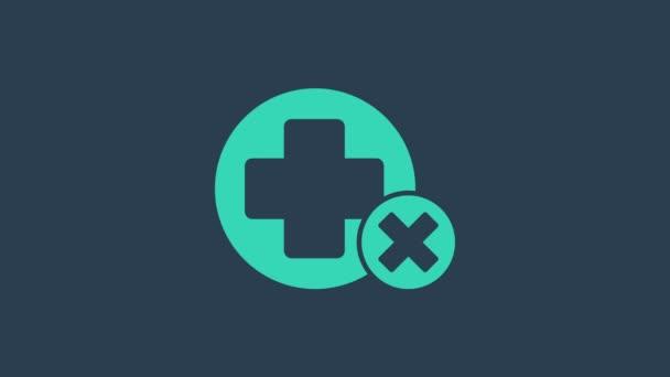 Türkis Kreuz Krankenhaus medizinische Ikone isoliert auf blauem Hintergrund. Erste Hilfe. Diagnose-Symbol. Medizin und Apotheke Zeichen. 4K Video Motion Grafik Animation