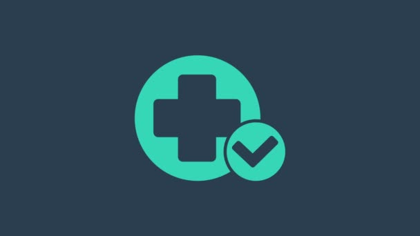 Turquoise Cross hospital medical icon isolated on blue background. First aid. Diagnostics symbol. Medicine and pharmacy sign. 4K Video motion graphic animation