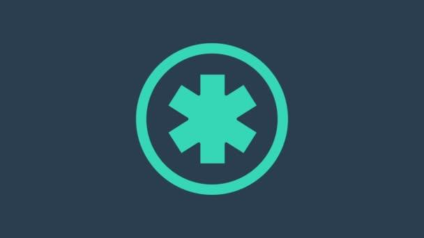Türkis Medizinisches Symbol der Notfall - Stern des Lebens Symbol isoliert auf blauem Hintergrund. 4K Video Motion Grafik Animation