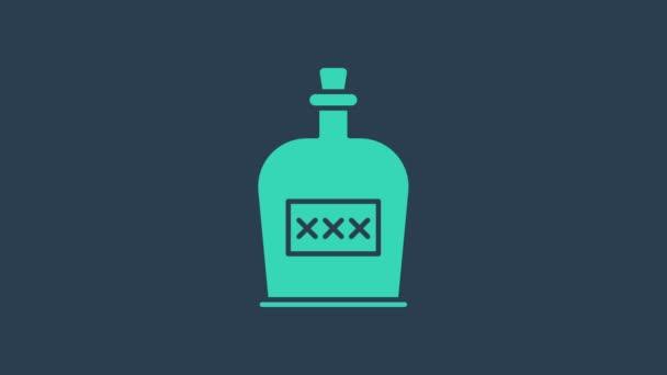 Türkiz Alkohol ital Rum palack ikon elszigetelt kék alapon. 4K Videó mozgás grafikus animáció