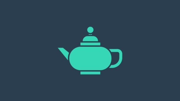 Turquoise Traditional Chinese tea ceremony icon isolated on blue background. Teapot with cup. 4K Video motion graphic animation