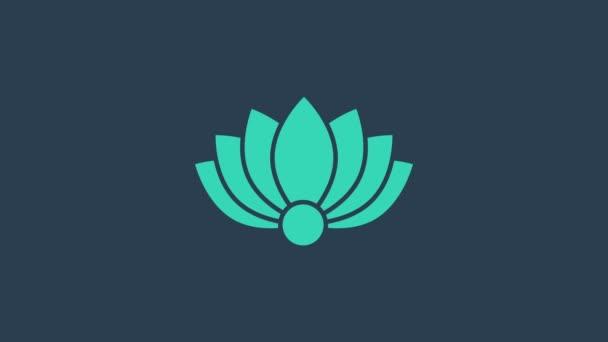 Türkiz Lotus virág ikon elszigetelt kék alapon. 4K Videó mozgás grafikus animáció
