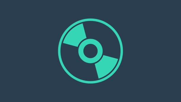 Turquoise CD or DVD disk icon isolated on blue background. Compact disc sign. 4K Video motion graphic animation