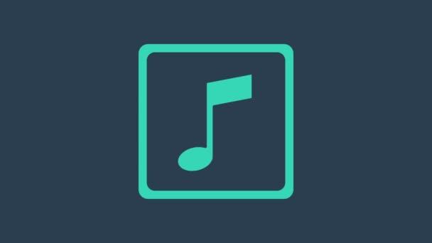 Türkiz Zene hang, hang ikon elszigetelt kék háttérrel. 4K Videó mozgás grafikus animáció
