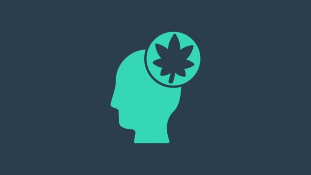 Turquoise Human head with leaf icon isolated on blue background. 4K Video motion graphic animation