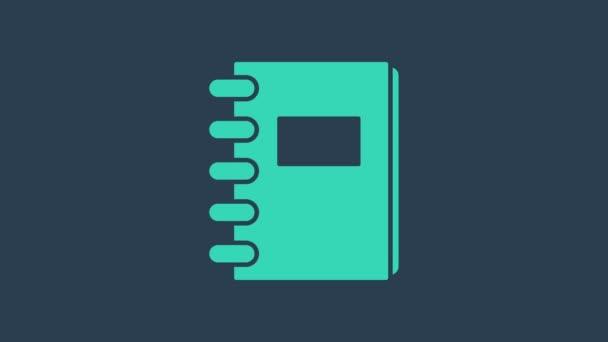 Tyrkysová ikona Notebooku izolovaná na modrém pozadí. Ikona spirálního bloku. Školní zápisník. Psací podložka. Deník do školy. Grafická animace pohybu videa 4K