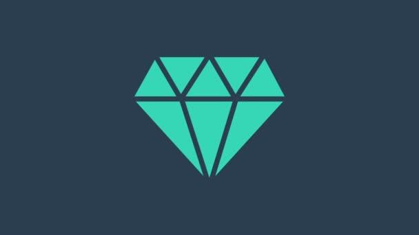 Türkiz gyémánt ikon elszigetelt kék háttérrel. Ékszer szimbólum. Ékkő. 4K Videó mozgás grafikus animáció