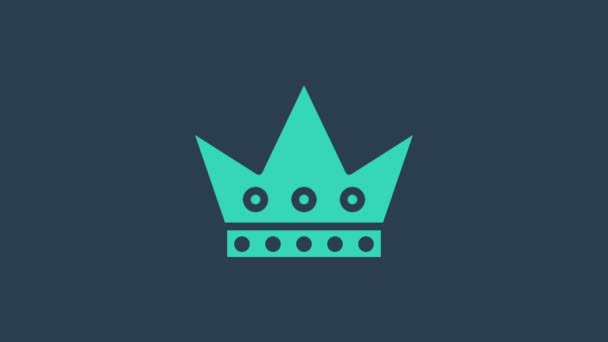Turquoise King playing card icon isolated on blue background. Casino gambling. 4K Video motion graphic animation