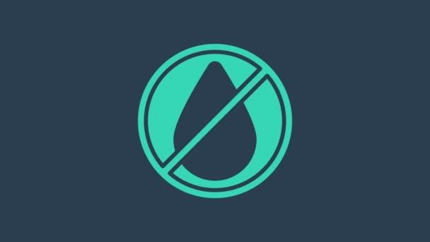 Tyrkysová kapka vody zakázané ikony izolované na modrém pozadí. Žádné stopy po vodě. Grafická animace pohybu videa 4K