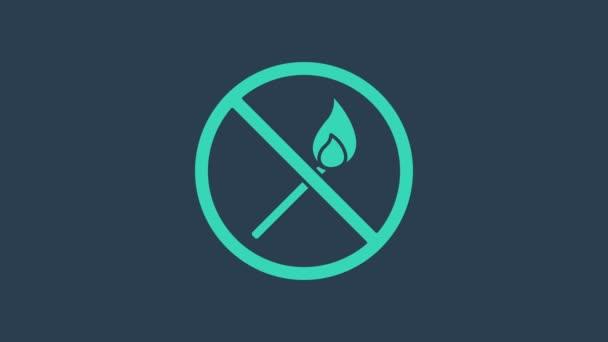 Tyrkysová Žádná požární shoda ikona izolované na modrém pozadí. Žádný otevřený oheň. Hořící sirka v kruhu. Grafická animace pohybu videa 4K