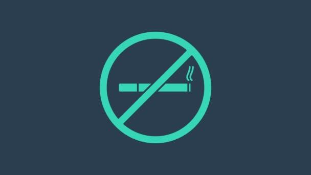 Türkis No Smoking Symbol isoliert auf blauem Hintergrund. Zigarettensymbol. 4K Video Motion Grafik Animation