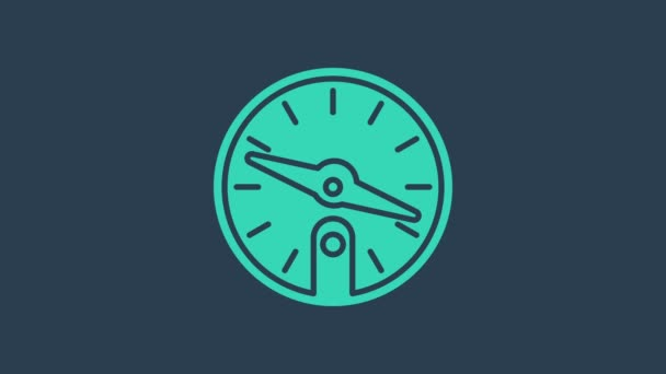Turquoise Compass icon isolated on blue background. Windrose navigation symbol. Wind rose sign. 4K Video motion graphic animation