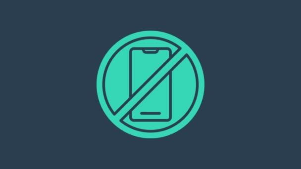 Tyrkysová Na modrém pozadí není izolovaná ikona mobilního telefonu. Žádné mluvení a volání. Zákaz buněk. Grafická animace pohybu videa 4K
