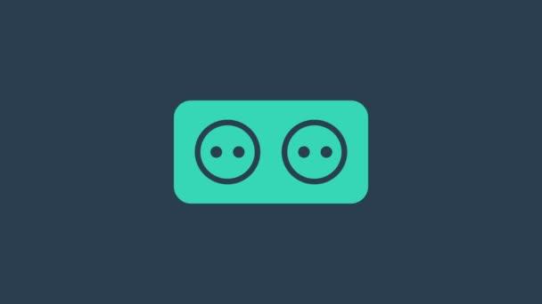 Türkiz Elektromos kimeneti ikon elszigetelt kék alapon. A konnektor. Rosette szimbólum. 4K Videó mozgás grafikus animáció