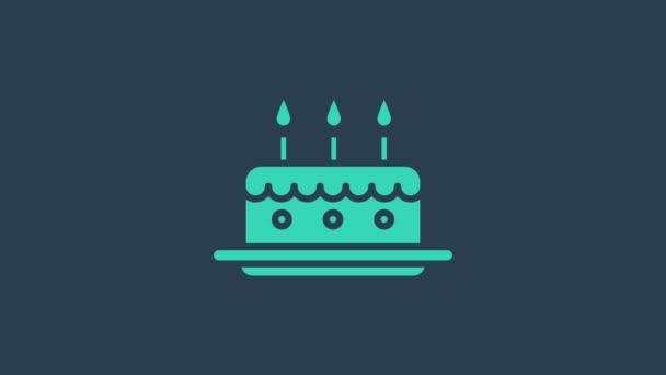 Türkiz torta égő gyertyák ikon elszigetelt kék alapon. Boldog szülinapot! 4K Videó mozgás grafikus animáció