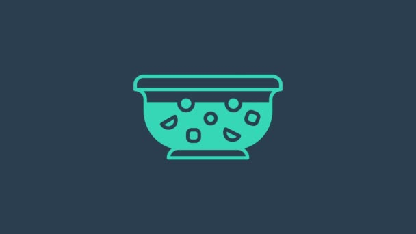 Turquoise Mixed punch with fresh fruits in bowl icon isolated on blue background. 4K Video motion graphic animation