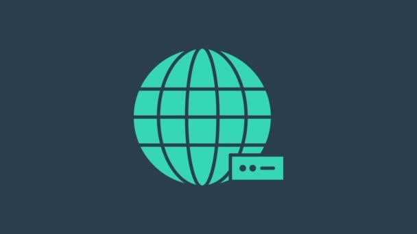 Türkis Global Technologie oder soziales Netzwerk Symbol isoliert auf blauem Hintergrund. 4K Video Motion Grafik Animation
