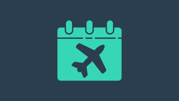 Türkiz Utazástervezési naptár és repülőgép ikon elszigetelt kék alapon. Egy tervezett nyaralás. 4K Videó mozgás grafikus animáció