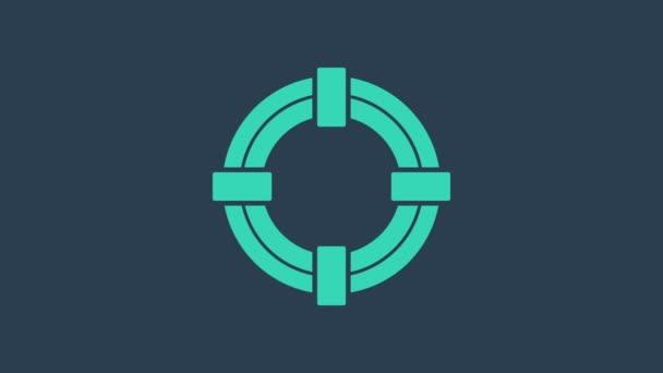 Türkises Rettungsring-Symbol isoliert auf blauem Hintergrund. Rettungsring für den Strand, Rettungsgurt für die Menschenrettung. 4K Video Motion Grafik Animation