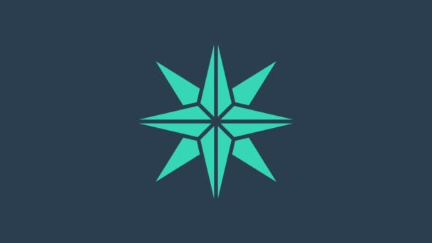 Turquoise Wind rose icon isolated on blue background. Compass icon for travel. Navigation design. 4K Video motion graphic animation