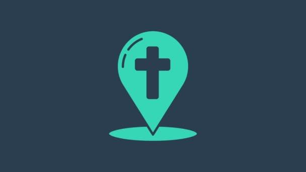 Türkisfarbener Kartenzeiger mit christlichem Kreuz auf blauem Hintergrund. 4K Video Motion Grafik Animation